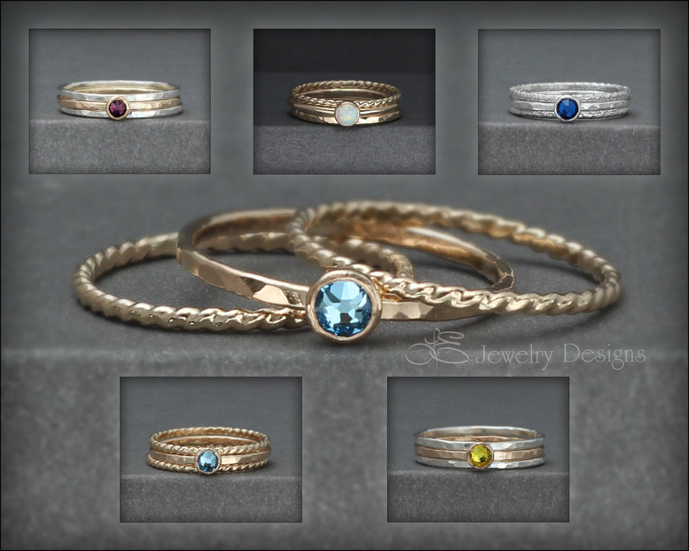 Birthstone Ring Set - (with 1 birthstone) - LE Jewelry Designs