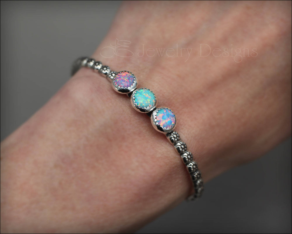 3-Stone Opal Flower Cuff - LE Jewelry Designs