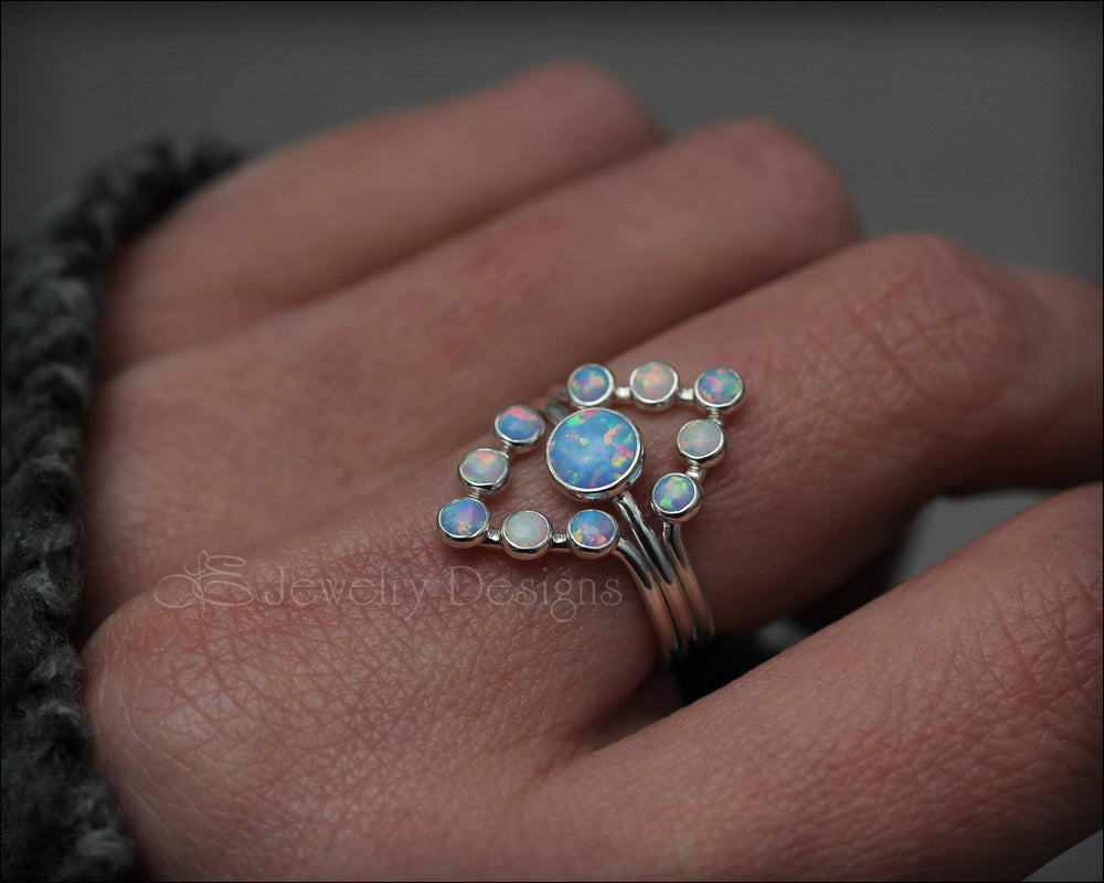 3-Ring Opal Chevron Ring Set