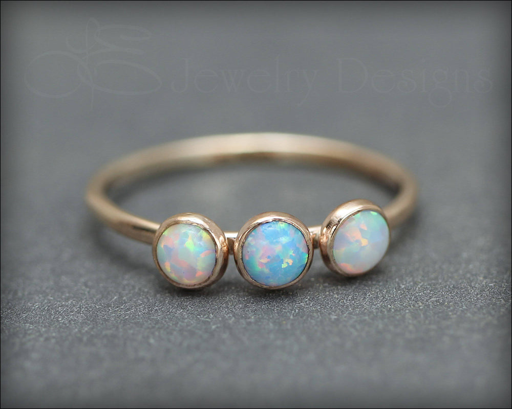 3-Stone Gold-Filled Opal Ring - LE Jewelry Designs