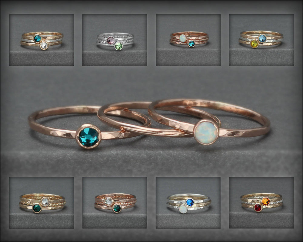 Birthstone Ring Set - (with 2 birthstones) - LE Jewelry Designs