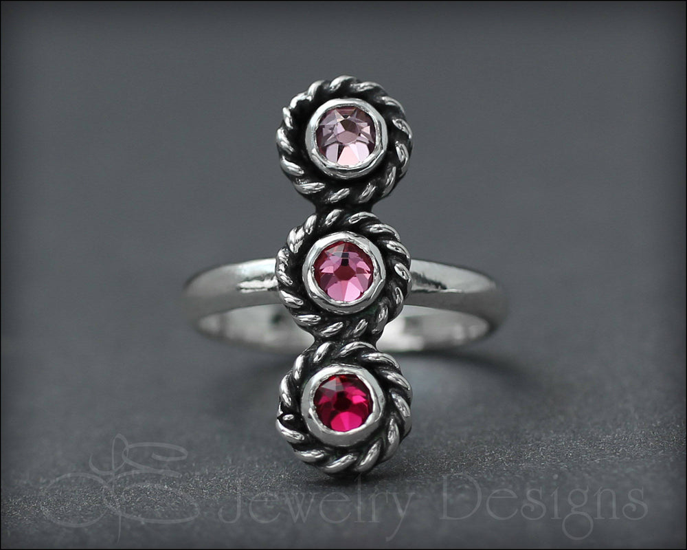 3-Stone Vertical Ring (w/birthstones or opals) - LE Jewelry Designs