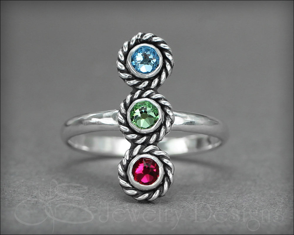 3-Stone Vertical Ring (w/opals or birthstones) - LE Jewelry Designs