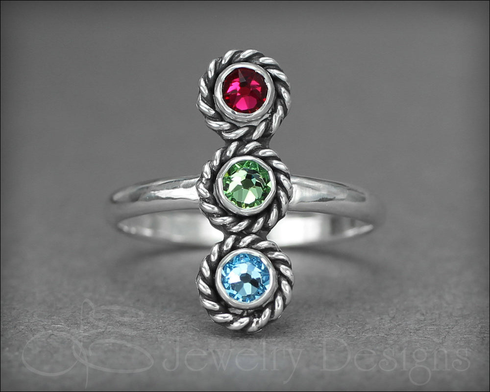 3-Stone Vertical Ring (w/opals or birthstones)