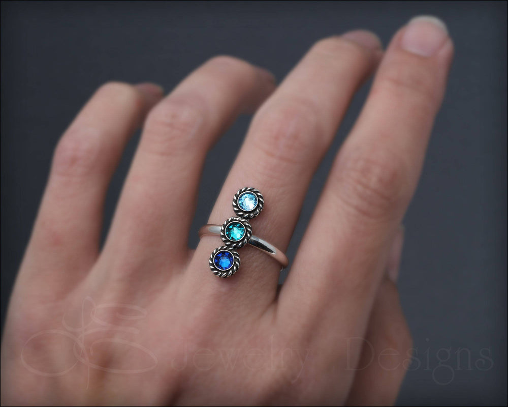 3-Stone Vertical Ring (w/birthstones or opals)