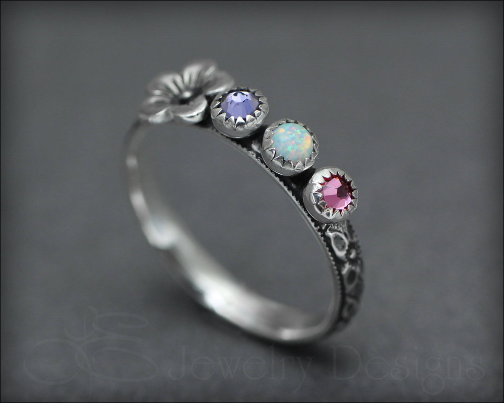 Floral Birthstone Ring Set - (choose # of stones)