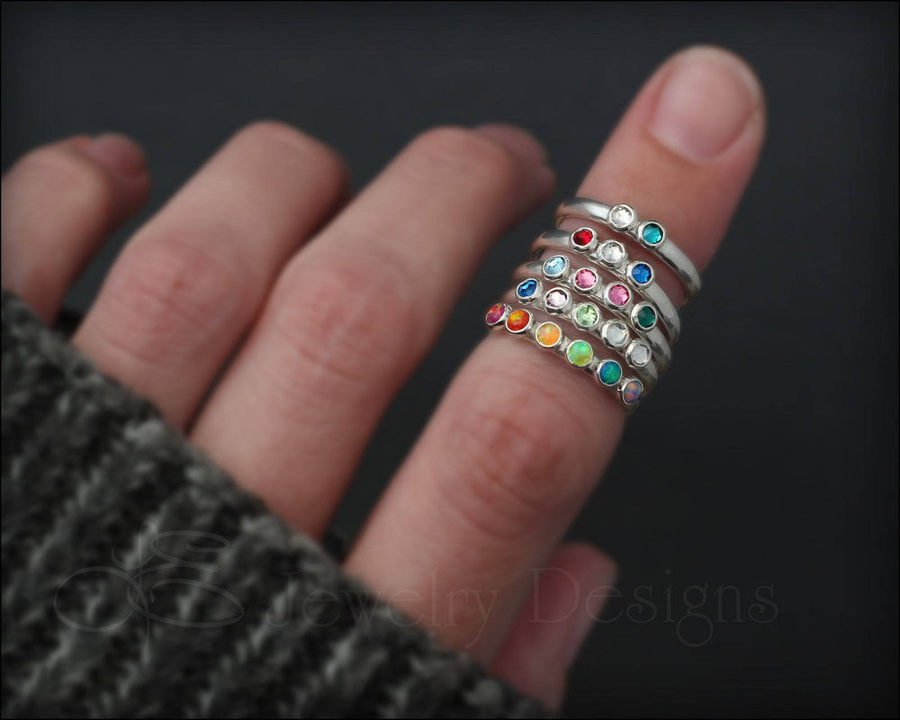 Silver Multi Birthstone Ring - (choose # of stones)