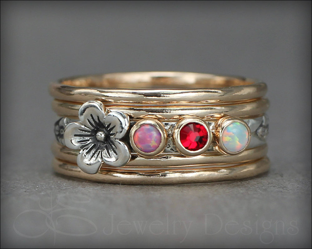 Birthstone Flower Ring Set - (choose # of stones)