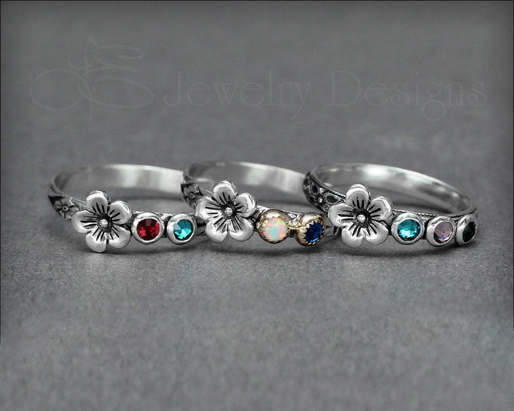Birthstone Flower Ring - (choose # of stones)