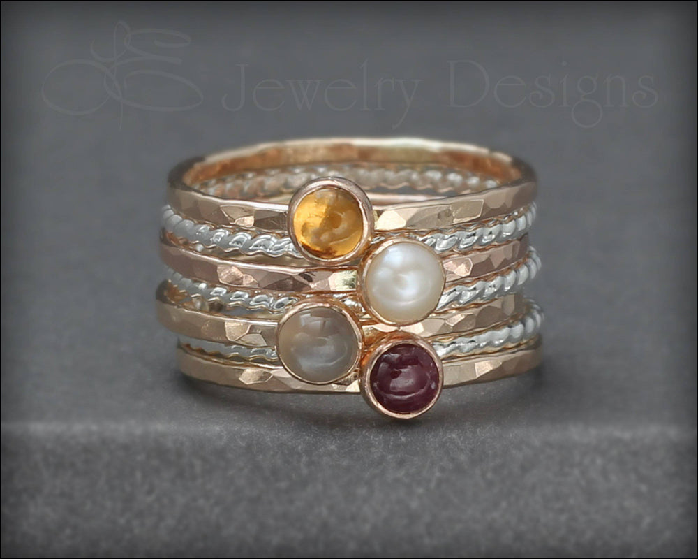 Gemstone Ring Set - (with 4 stones) - LE Jewelry Designs