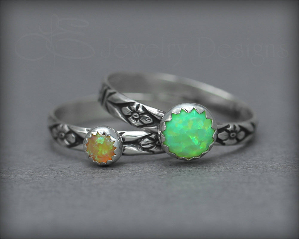 Floral Opal Ring Set (6mm & 4mm opal)