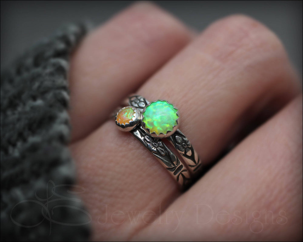 Floral Opal Ring Set (6mm & 4mm opal) - LE Jewelry Designs