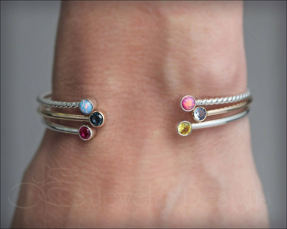 Skinny Dual Birthstone or Opal Bracelet - LE Jewelry Designs