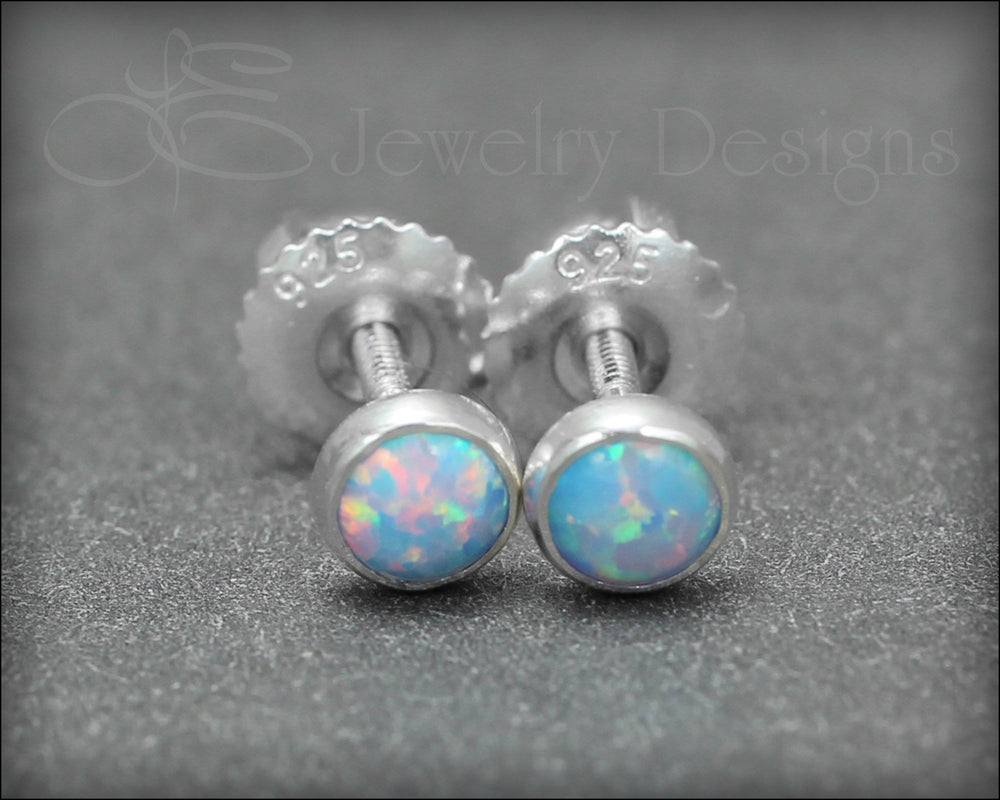Opal or Birthstone Studs (screw backs)