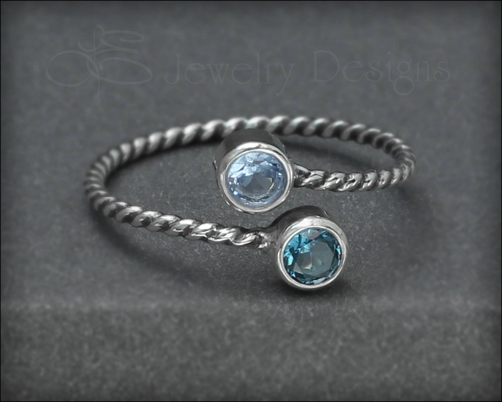Twisted Sterling Dual Birthstone or Opal Ring - LE Jewelry Designs