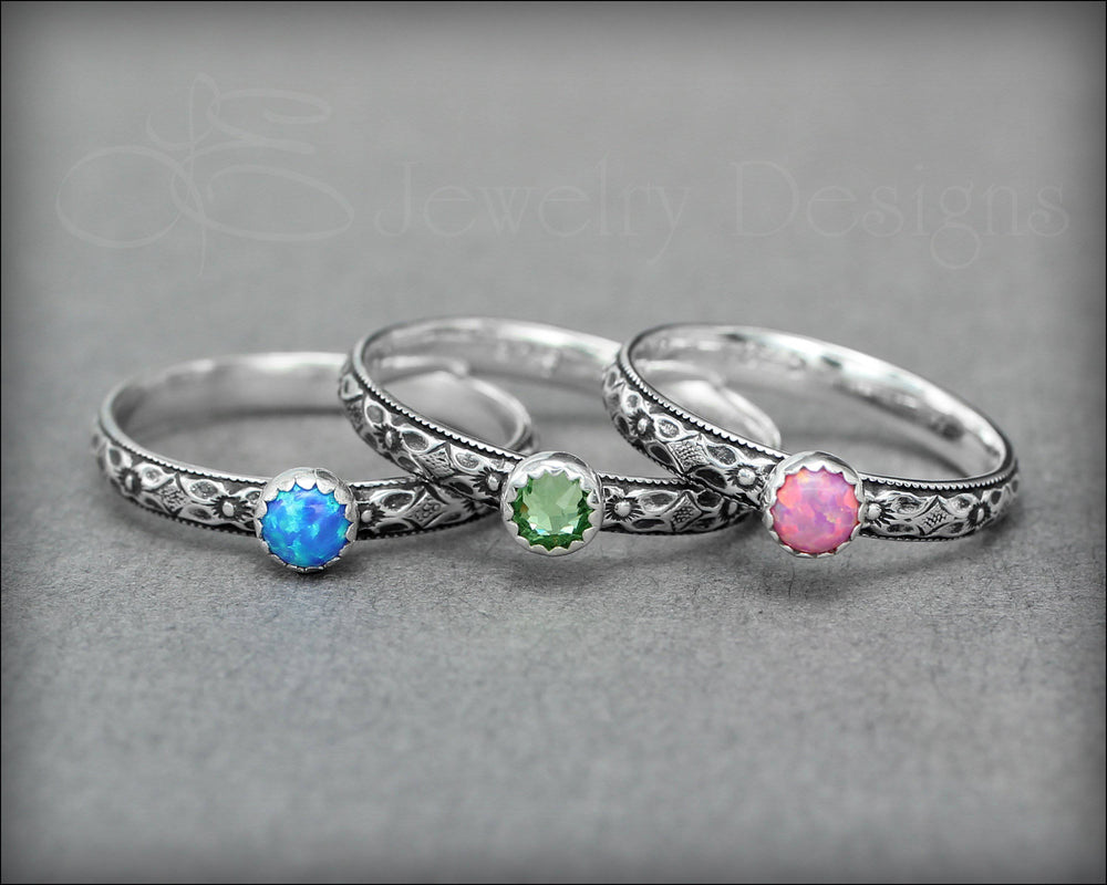 Vintage Style Birthstone or Opal Ring