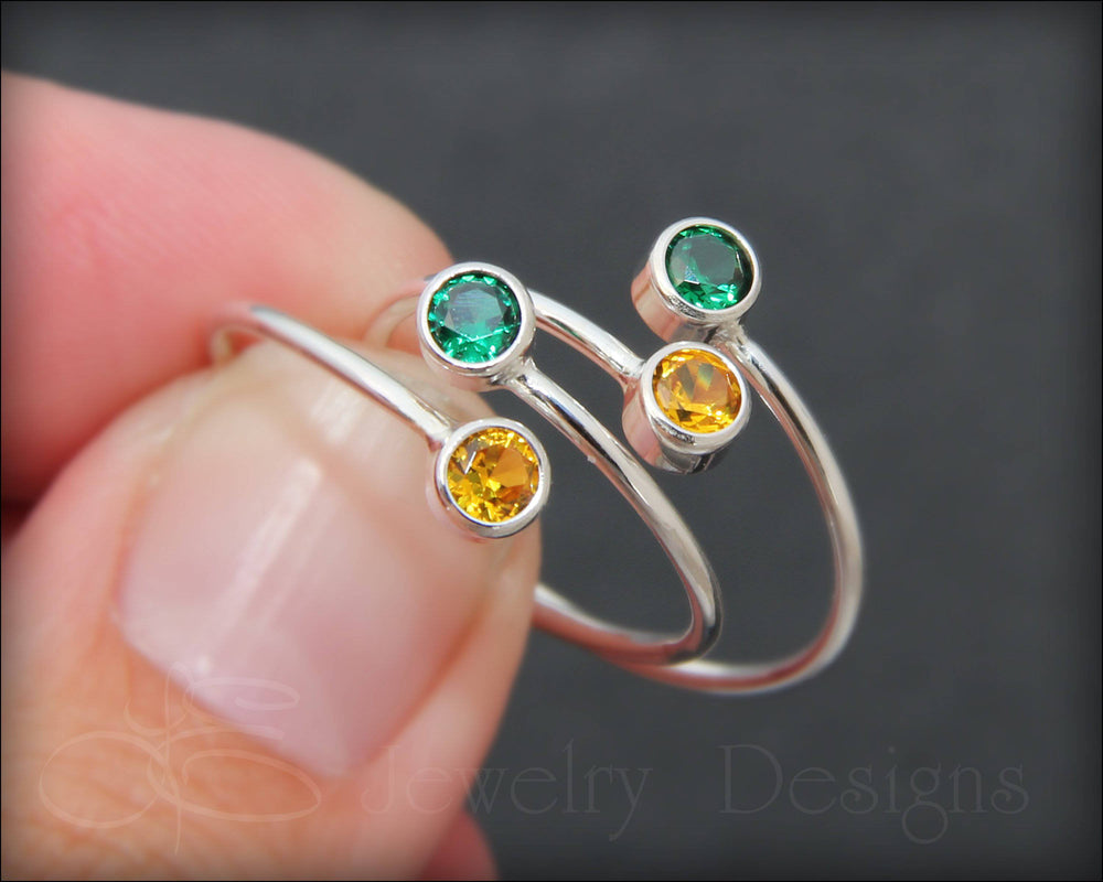 Sterling Dual Birthstone or Opal Ring