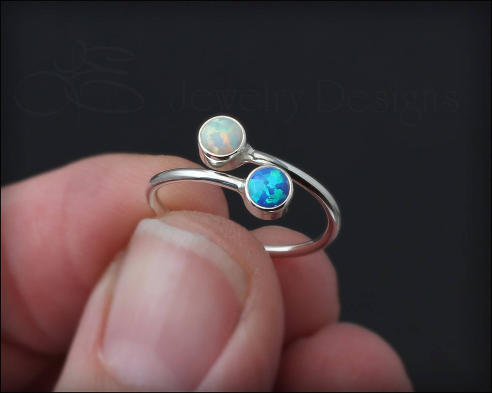 Sterling Dual Birthstone or Opal Ring - LE Jewelry Designs