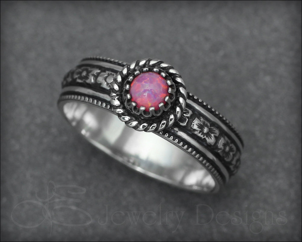 Opal or Birthstone Flower Band