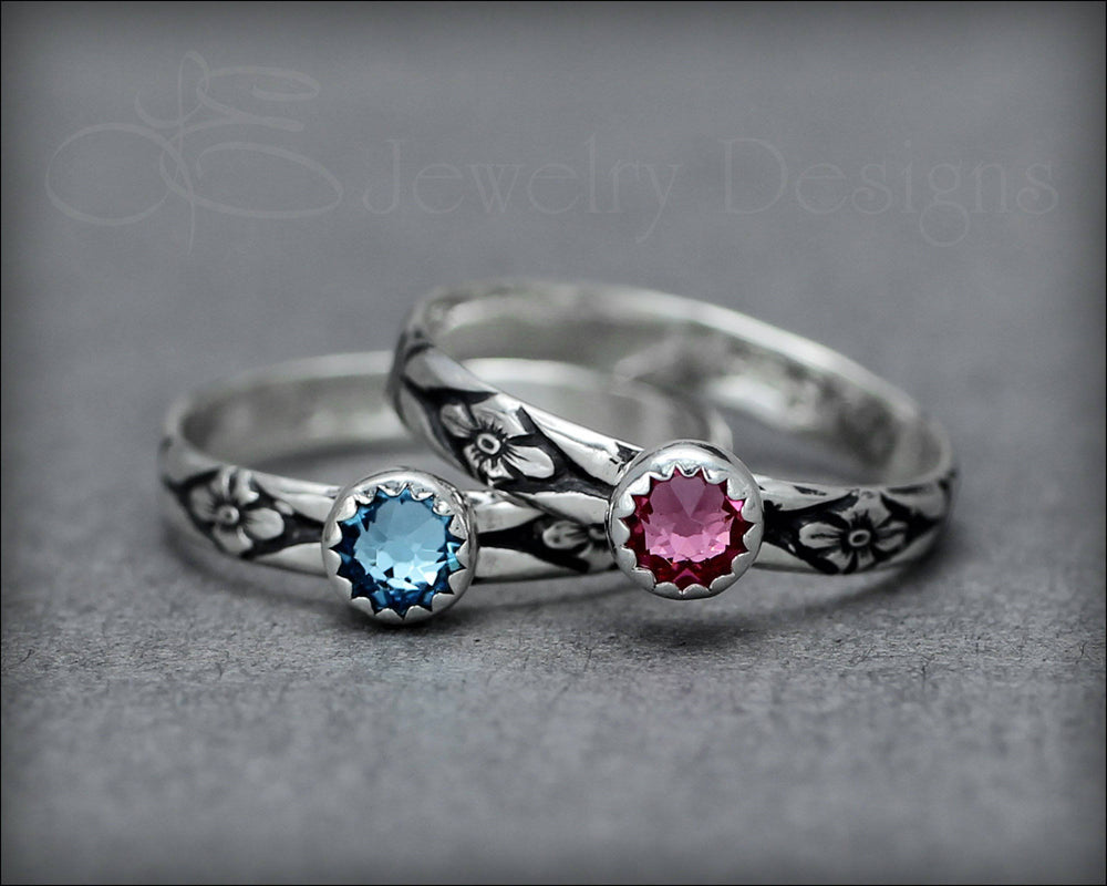 Floral Birthstone or Opal Stacking Ring - LE Jewelry Designs