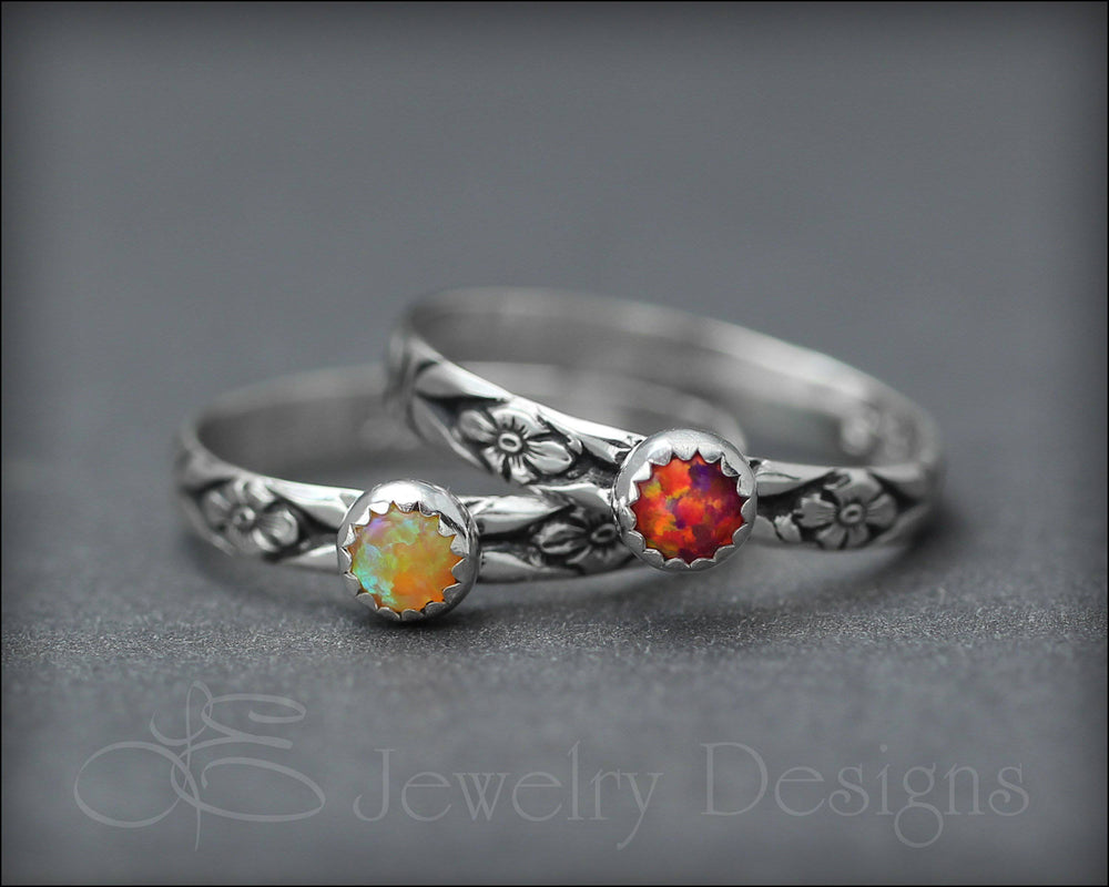 Floral Birthstone or Opal Stacking Ring