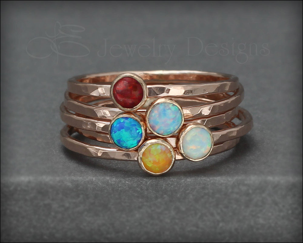 Gold Opal or Birthstone Stacking Ring