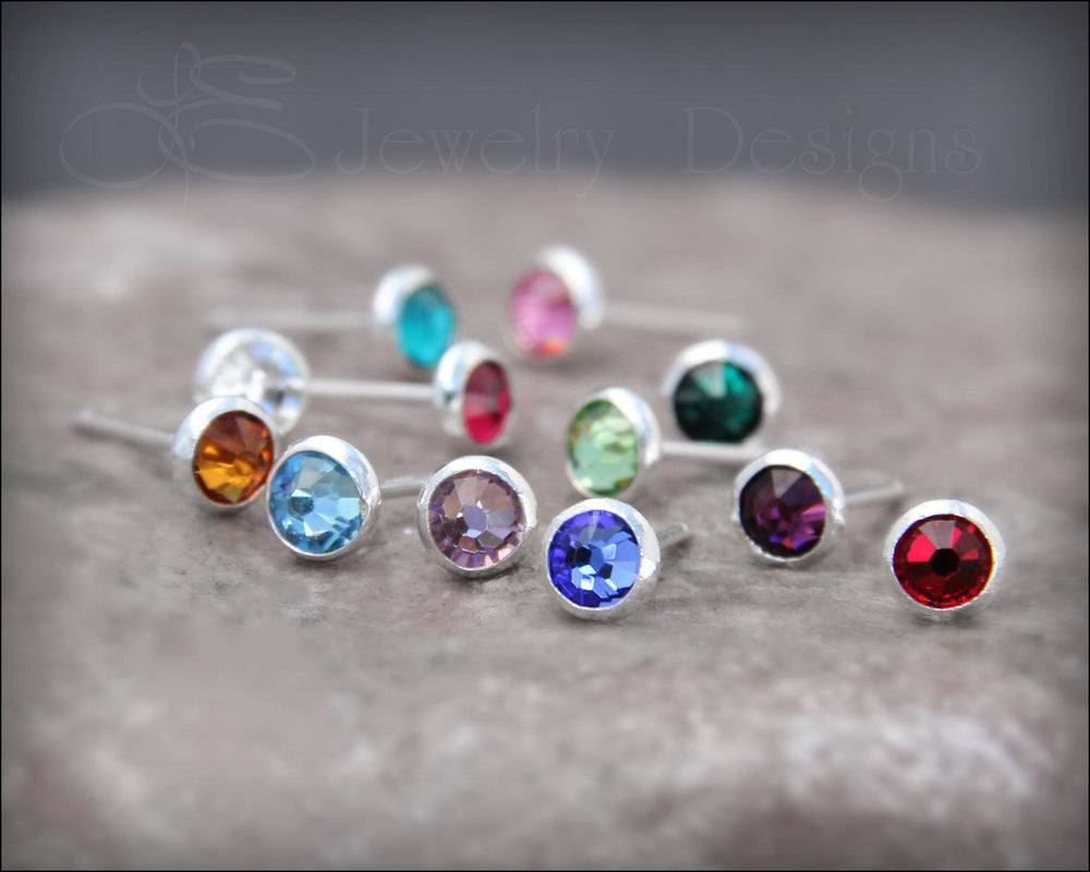 Birthstone Stud Earrings (silver or gold-filled) - LE Jewelry Designs