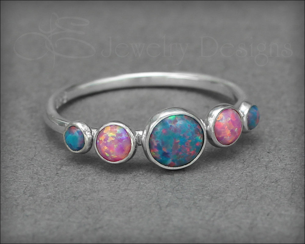 5-Stone Sterling Opal Ring