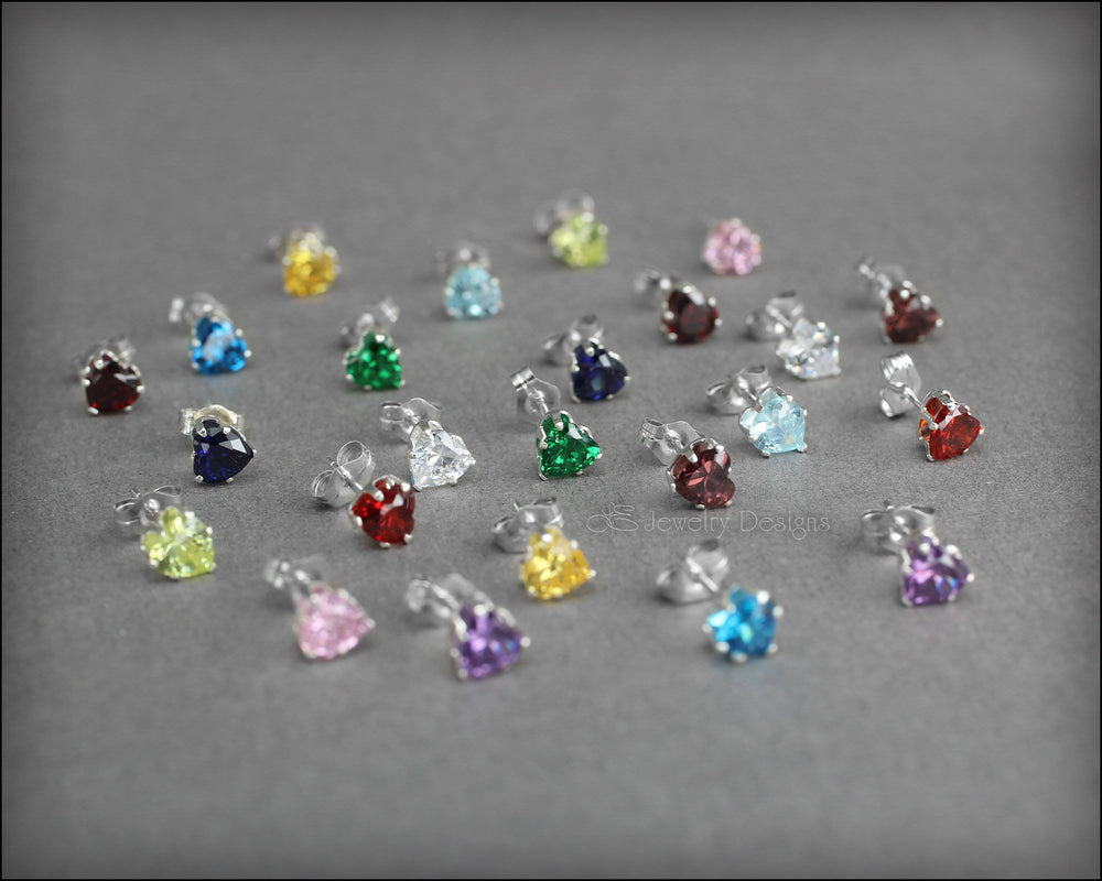 Birthstone Heart Studs - (sterling or gold-filled)