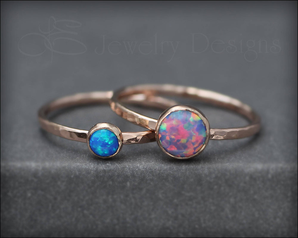 Gold Opal Ring Set - (6mm & 4mm)