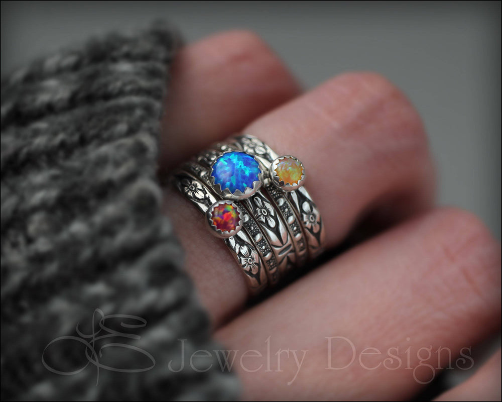 Floral Opal Ring Set (6mm & 4mm opals) - LE Jewelry Designs