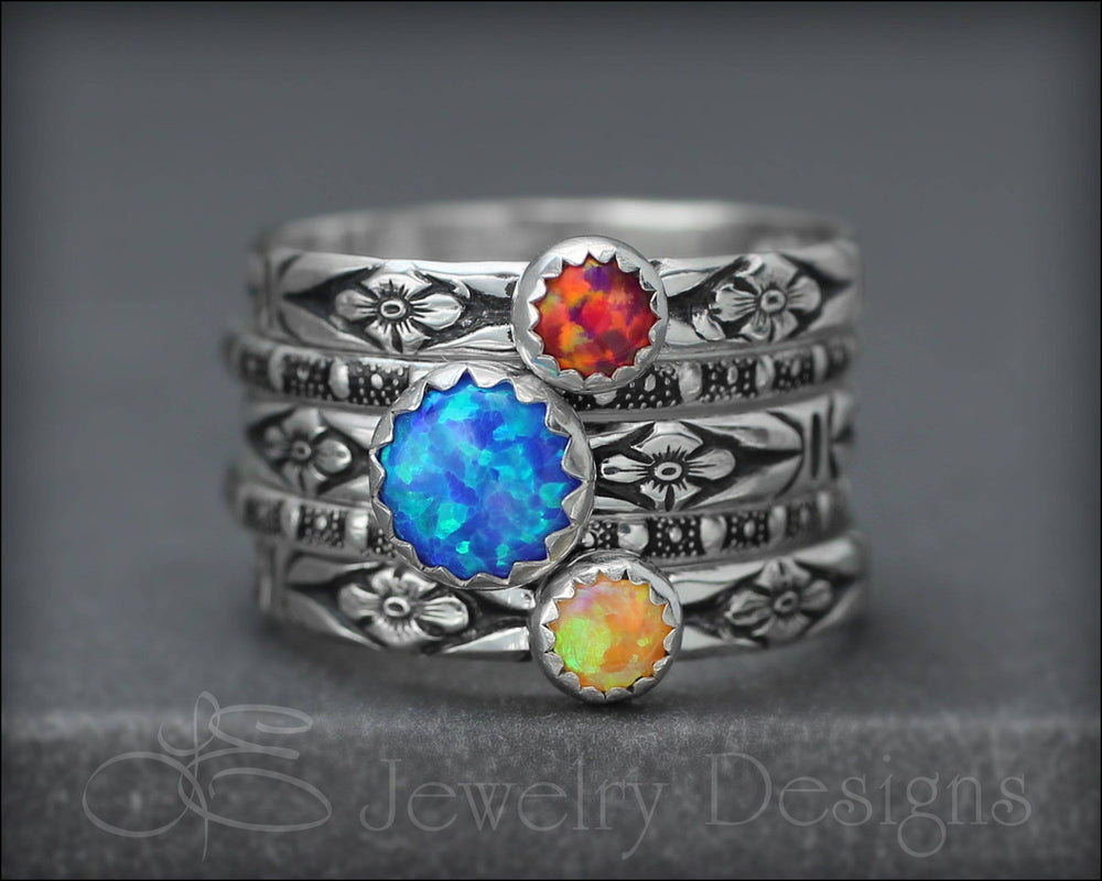 Floral Opal Ring Set (6mm & 4mm opals)
