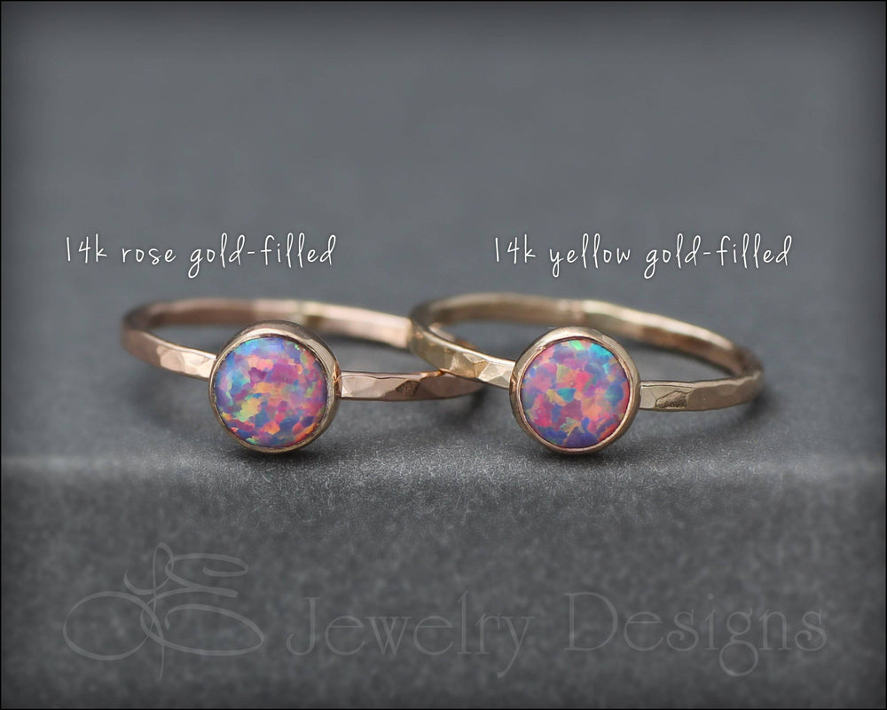 Gold Opal Ring Set - (6mm & 4mm) - LE Jewelry Designs