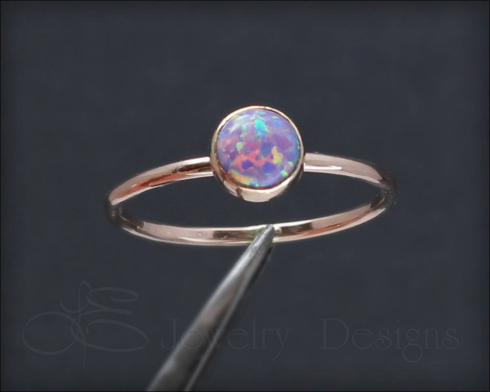 Gold Opal Stacking Ring - (6mm) - LE Jewelry Designs