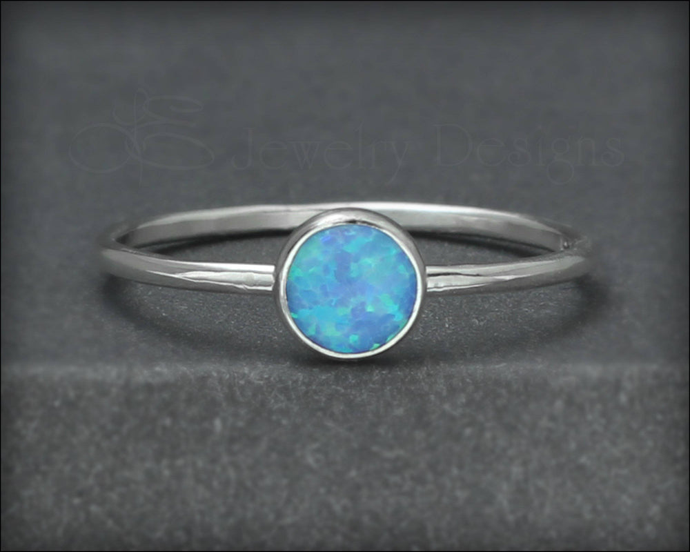 Silver Opal Stacking Ring - (6mm) - LE Jewelry Designs