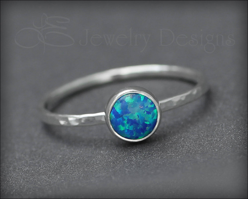 Silver Opal Stacking Ring - (6mm)