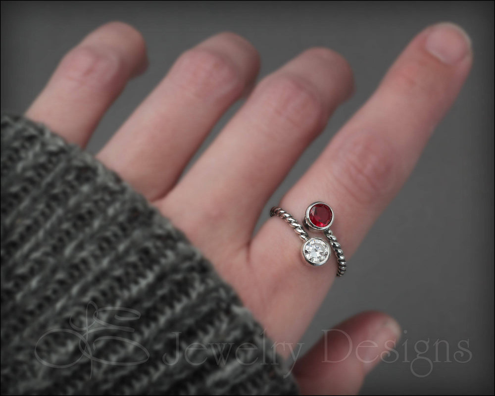 Twisted Sterling Dual Birthstone Ring - LE Jewelry Designs