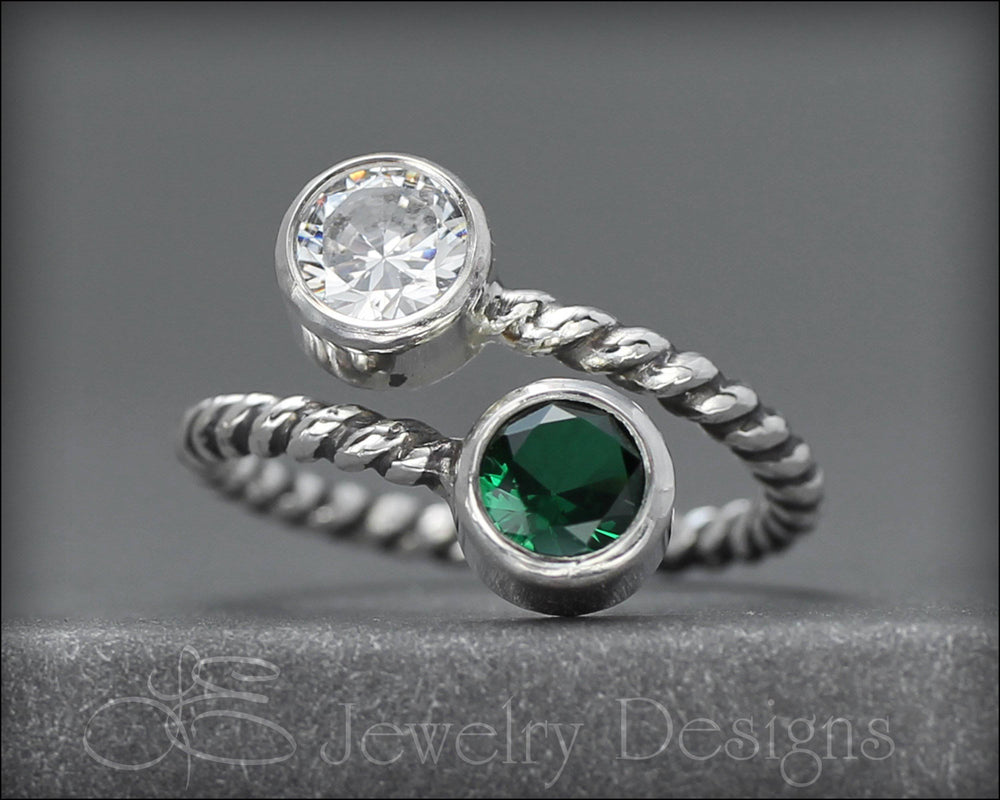 Twisted Sterling Dual Birthstone Ring