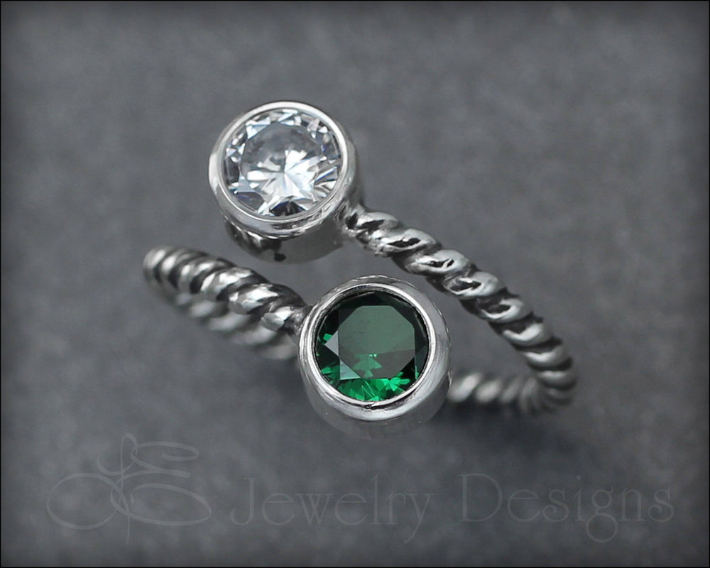 Twisted Sterling Dual Birthstone or Opal Ring