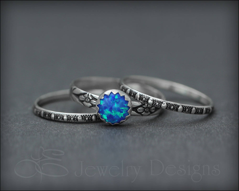 Floral Opal Ring Set (6mm opal) - LE Jewelry Designs
