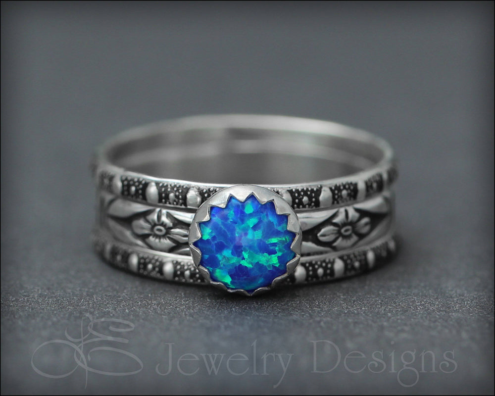 Floral Opal Ring Set (6mm opal)