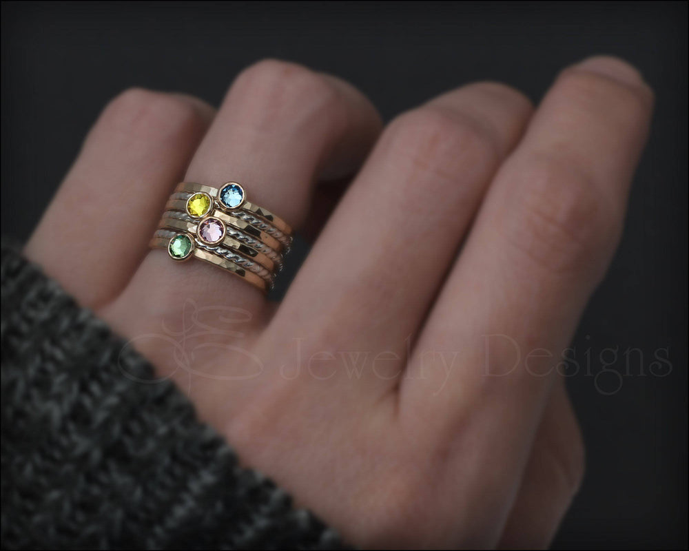 Birthstone Ring Set - (with 4 birthstones)
