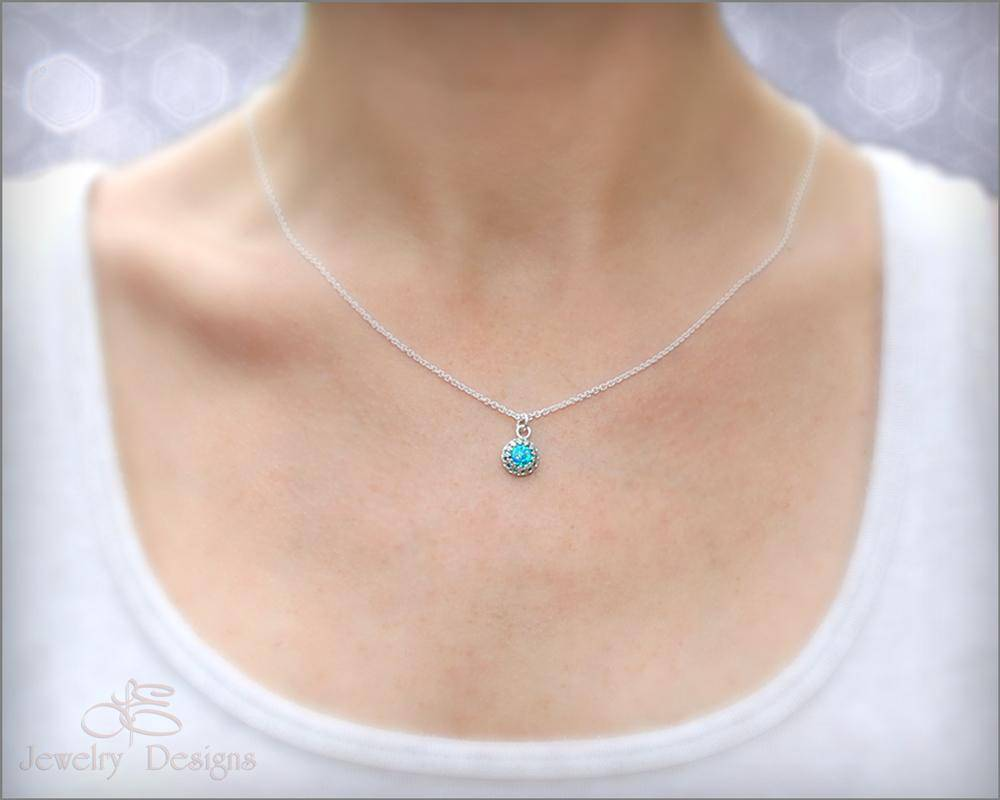 Silver Opal Necklace (choose color)