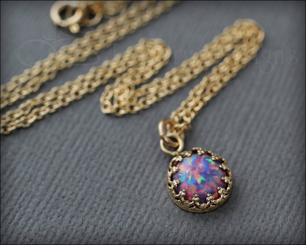 Gold Opal Necklace (choose color)
