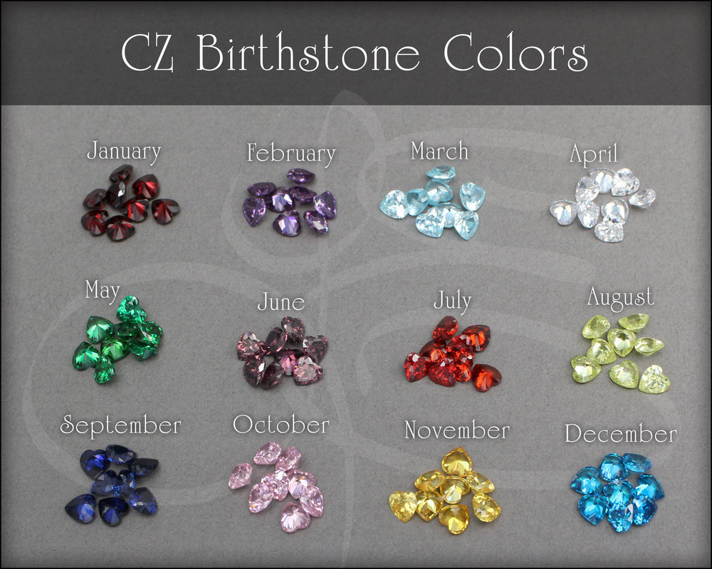 Birthstone Heart Studs - (sterling or gold-filled) - LE Jewelry Designs