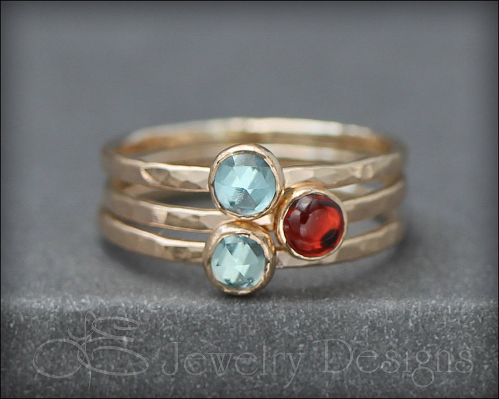 Gemstone Stacking Ring - (silver, gold) - LE Jewelry Designs
