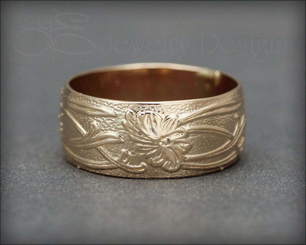 Gold Art Nouveau Wide Floral Band - LE Jewelry Designs