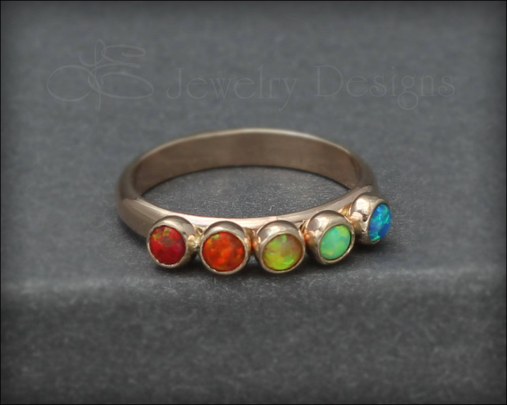 14k Gold Multi Opal Ring - (choose # of stones)