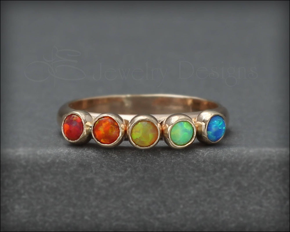 14k Gold Multi Birthstone Ring - (choose # of stones)