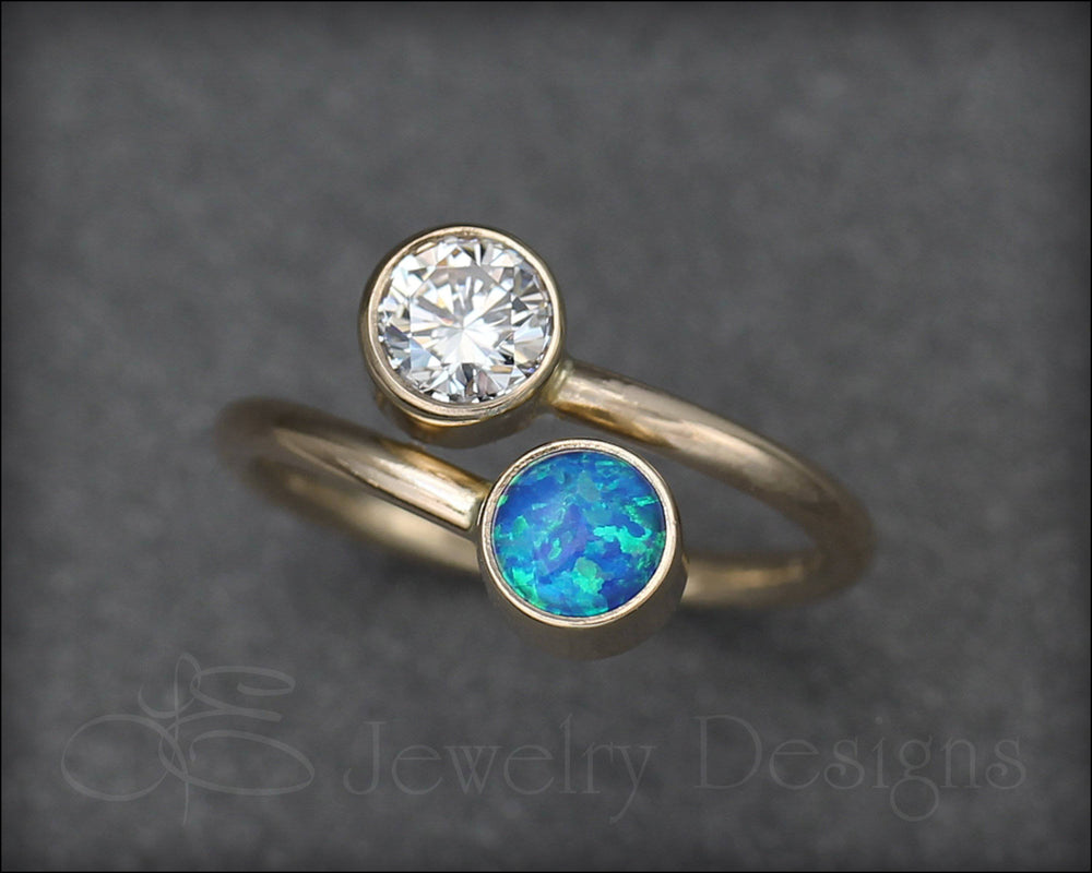 14k Gold Dual Birthstone Ring
